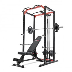 BodyMax CF385+ Power Rack, CF328+ Utility Bench, 95kg Rubber Olympic Weight Kit & Disc Loading Pulley System