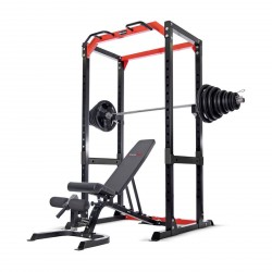 BodyMax CF485+ Power Rack with 145kg Rubber Olympic Weight Kit and BodyMax CF430+ Bench