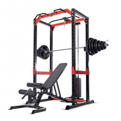 BodyMax CF485+ Power Rack with High/Low Cable Pulley Attachment & 95kg Weight Stack, 145kg Rubber Olympic Weight Kit and BodyMax CF430+ Bench